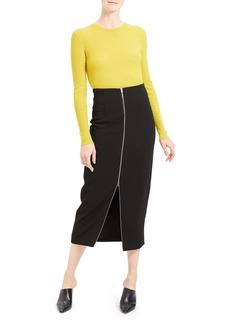 Theory High Waist Zip Pencil Midi Skirt