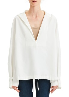 Theory Hooded Boxy Taffeta Pullover Top
