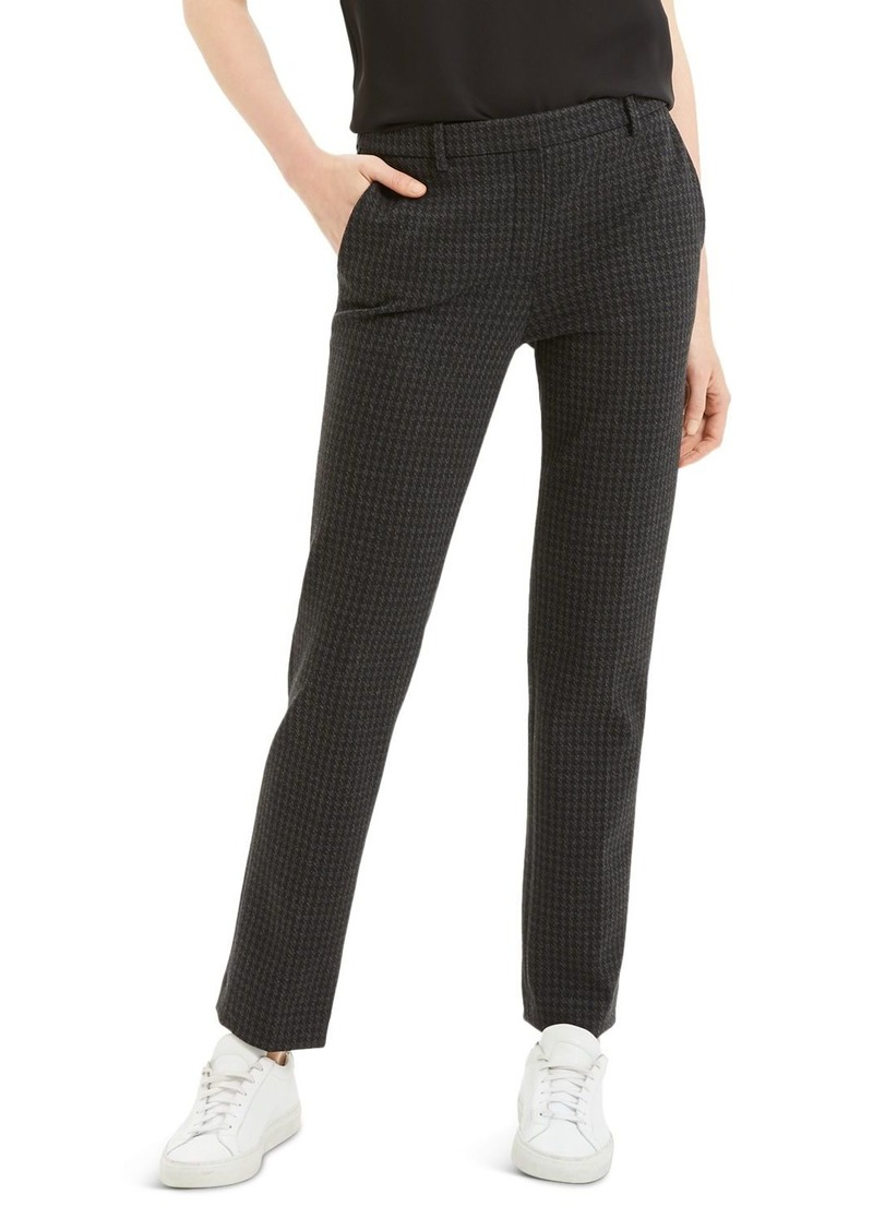 Theory Houndstooth Straight-Leg Pants