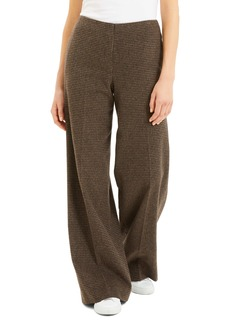 Theory Houndstooth Wool Blend Flannel Wide Leg Pants