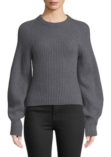 Theory Huron Sculpted-Sleeve Crewneck Merino Wool Sweater