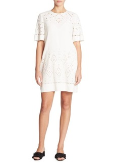 Theory Idetteah Eyelet Crepe Shift Dress