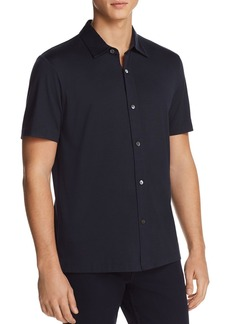 Theory Incisive Knit Short Sleeve Button-Down Shirt