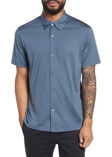 Theory Incisive Silk & Cotton Short Sleeve Sport Shirt