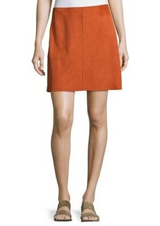 Theory Irenah Metises Suede Mini Skirt