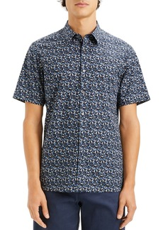 Theory Irving Geometric-Print Short-Sleeve Slim Fit Shirt
