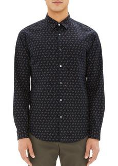 Theory Irving Regular Fit Crown Print Sport Shirt