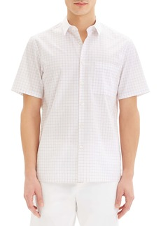 Theory Irving Slim Fit Grid Short Sleeve Button-Up Sport Shirt