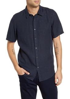 Theory Irving Slim Fit Short Sleeve Button-Up Linen Sport Shirt