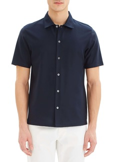 Theory Isak Short Sleeve Button Up Knit Shirt