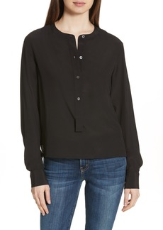 Theory Isalva Classic Georgette Silk Blouse
