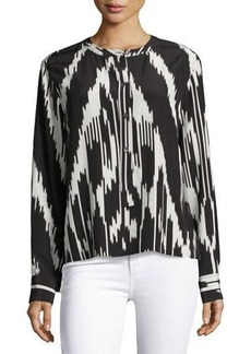 Theory Isalva Ikat-Print Long-Sleeve Silk Blouse