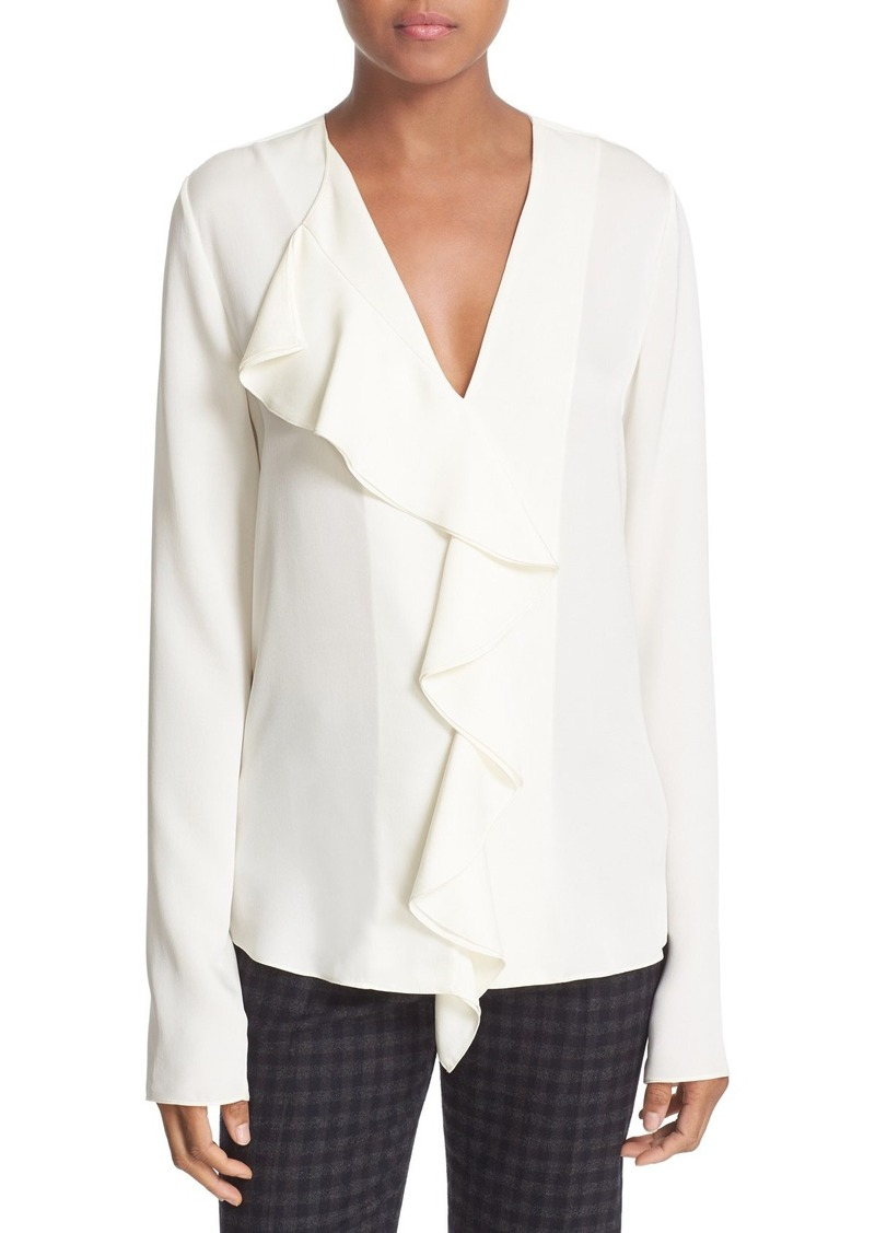 Theory Theory 'Jastrid' Ruffle Front Silk Georgette Blouse ...