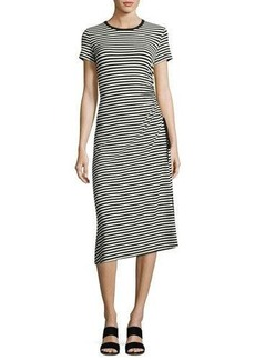 Theory Jilaena Side-Ruched Striped Dress