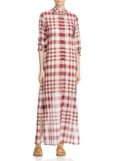 Theory Jinniefield Cotton Plaid Shirt Dress