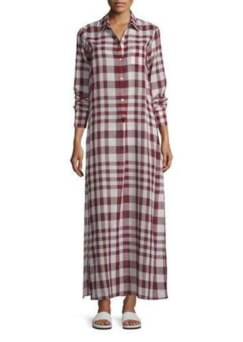 c67d7c820a Theory Theory Jinnifield Cotton Plaid Maxi Shirtdress Now $296.00