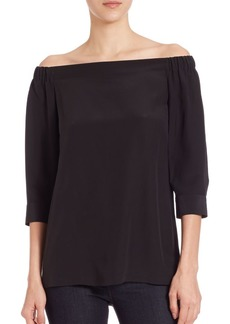 Theory Joscla Silk Off-The-Shoulder Blouse