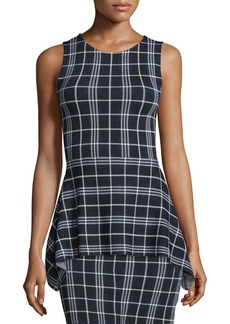 Theory Kalora Lustrate Plaid Peplum Top