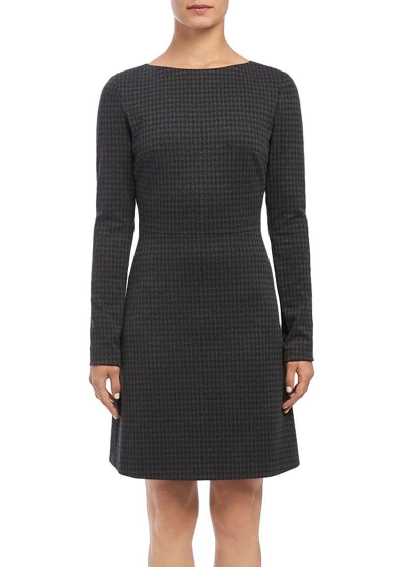 Theory Kamelina Long-Sleeve Houndstooth Dress