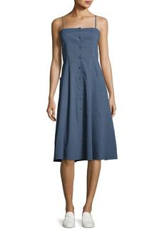 Theory Kayleigh Button-Front Midi Sun Dress