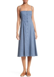Theory Kayleigh Crunch Wash Chambray Midi Dress