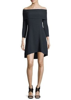 Theory Kensington Off-the-Shoulder Mini Cocktail Dress
