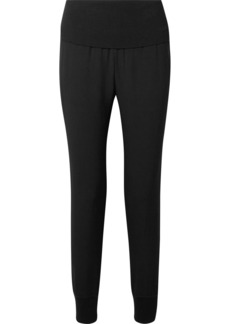 Theory Kensington ribbed knit-trimmed crepe track pants