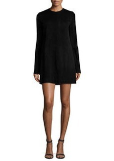 Theory Komiza Tilde Studded-Sleeve Suede Shift Dress