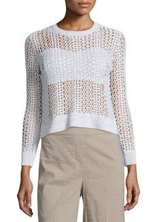 Theory Krezia B Iras Crocheted Knit Cropped Sweater