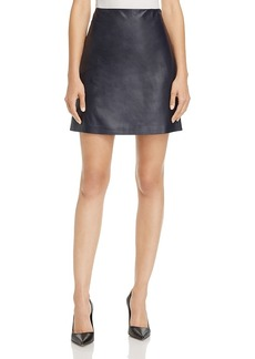 Theory L Paper Leather Micro-Mini Skirt