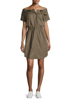 Theory Laela Stretch-Cotton Off-the-Shoulder Shirtdress