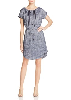 Theory Laela Tie-Neck Chambray Shirt Dress