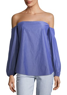 Theory Laureema Off-the-Shoulder Striped Poplin Top