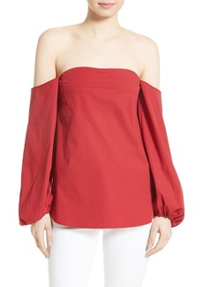 Theory Laureema Poplin Off the Shoulder Top