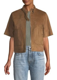 Theory Lavzinnie Wilmore Short-Sleeve Suede Jacket