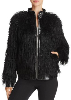 Theory Leather & Faux Mongolian Fur Bomber Jacket
