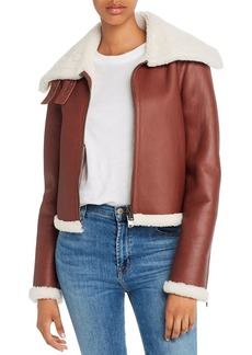 Theory Leather & Shearling Moto Jacket