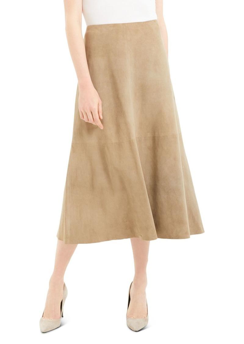 Theory Leather Midi Skirt