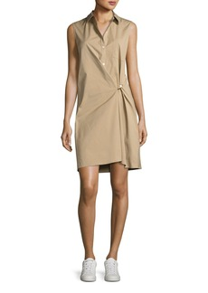 Theory Lenmana Stretch-Cotton Sleeveless Shirtdress