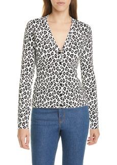 Theory Leopard Print Cardigan