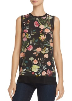 Theory Lewie Floral Print Silk Tank