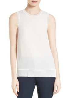 Theory Lewie Silk Georgette Combo Top