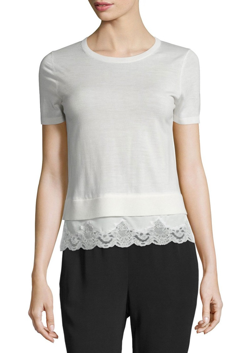 Theory Lilany Refine Lace-Trimmed Sweater