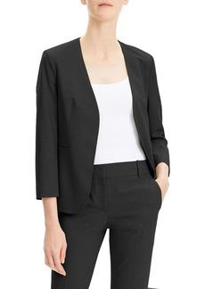 Theory Lindrayia Open-Front 3/4-Sleeve Good Wool Jacket
