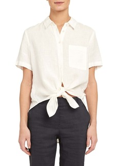 Theory Linen Tie Front Shirt