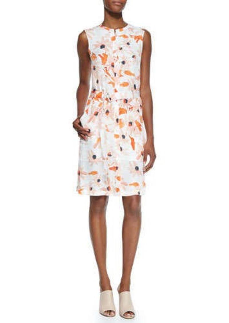 theory theory linigole floral print belted dress linigole
