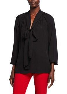 Theory Long-Sleeve Georgette Scarf Top