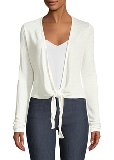 Theory Long-Sleeve Linen Wrap Cardigan