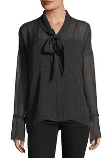 Theory Long-Sleeve Metallic Silk Scarf Shirt