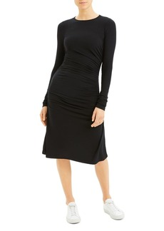 Theory Long-Sleeve Ruched Dress